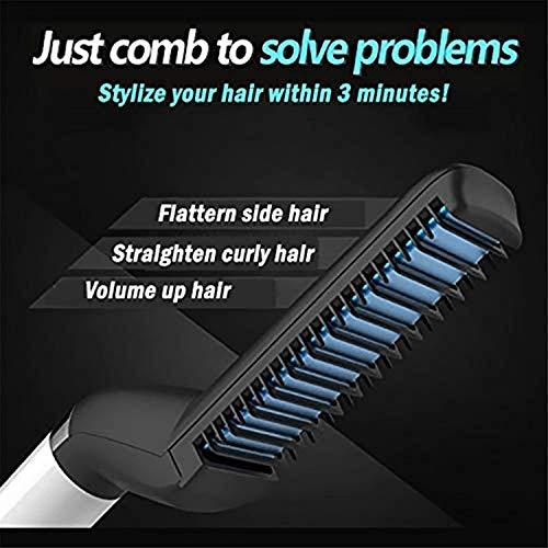 HARISWARUP HS-STORE's Multifunctional Hair Comb Brush Beard Straightener Hair Straightening Comb Quick Hair Beard Care Styling Brush for Men (Black)