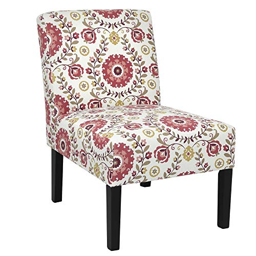 (Homegear Home Furniture Accent Armless Chair - Contemporary Designs - Floral)