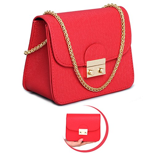 Red Shoulder Bag Purse (Leather Small Cross Body Purse Crossbody Bag Black Red Evening Party Wedding Clutches Shoulder Bag)