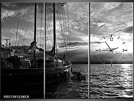 Orologi Da Parete In Tela : Tela orologio da parete barca a vela sul mare bianco e nero
