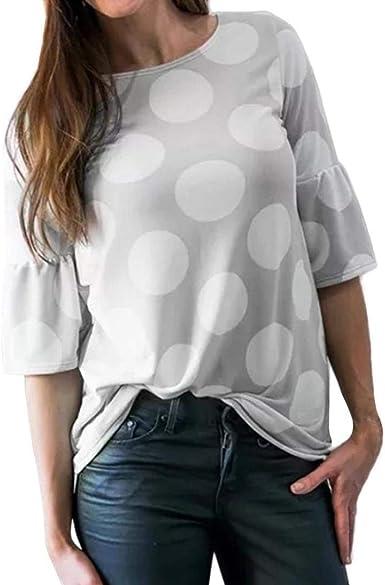 Camiseta con Estampado De Lunares - Mujer para Blusa Bell Suelta Años 20 con Diseño Elegante - Cuello