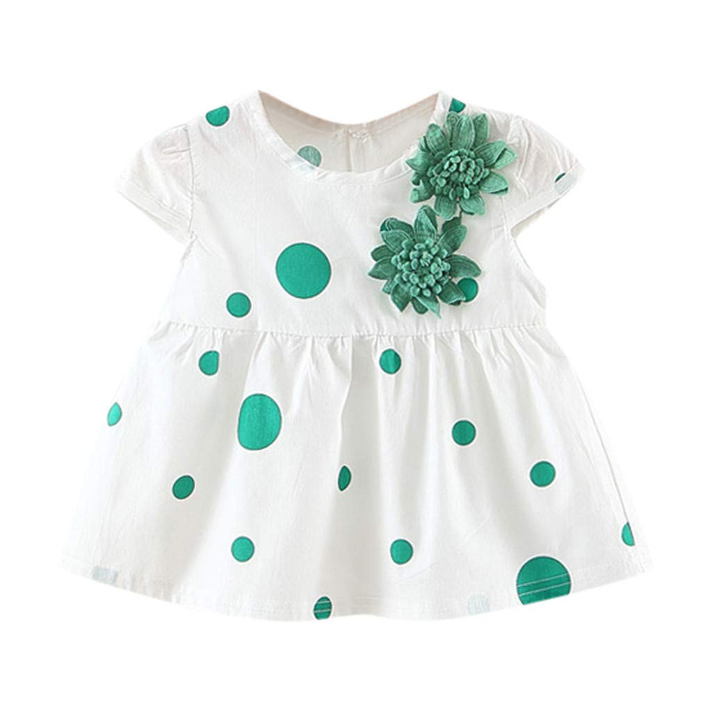 NUWFOR Toddler Baby Kids Girls Dot Flowers Skirt Princess Dresses Casual Clothes(Green,3-6Months)