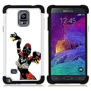 """Hypernova Híbrido Heavy Duty armadura cubierta silicona prueba golpes Funda caso resistente Para Samsung Galaxy Note 4 IV / SM-N910 [Mujer africana Bailarín tribal nativo""""]"""