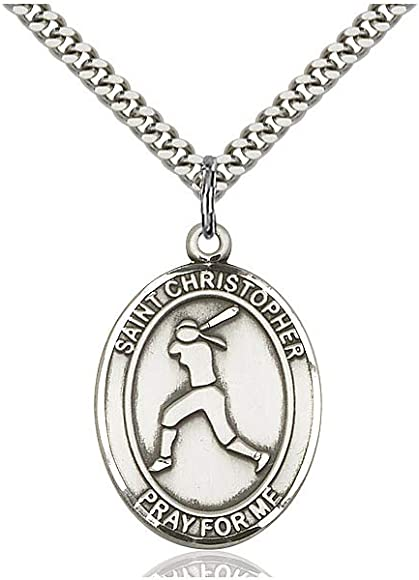 DiamondJewelryNY Sterling Silver St Christopher//Softball Pendant