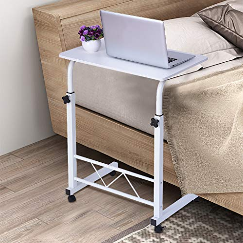Mobile Computer Desk with Wheels, Blueseao Adjustable Mobile Desk Portable Laptop Table Computer Stand Desk Home Office Chair Can Be Lifted and Lowered Black MDF + Steel Frame