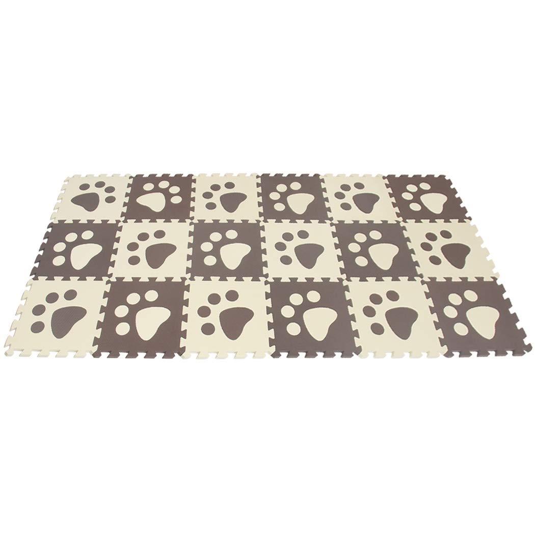 MQIAOHAM 18pcs paw Coffee-Beige Kids Play mat for Baby Floor mats Play-mat Large Children Playing Childs Room Girls Foam P02704G18