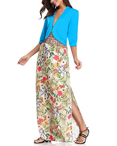 Soire Solide 3 Shrug pour Cardigan Tops Femme Court Hauts Robe Bleu Jersey Elgante Bolro De Veste Chic Manches Face Ouvrir Cropped Minetom 4 A1fwqpx