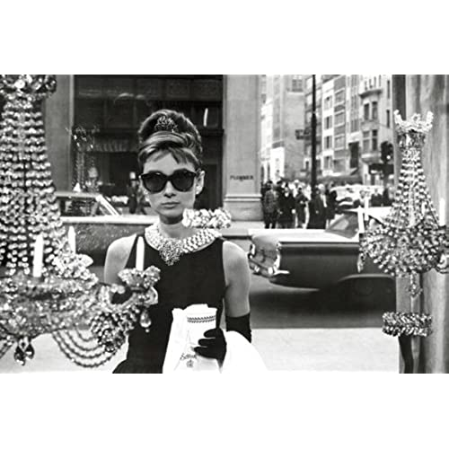 Audrey hepburn breakfast at tiffanys window shopping in black and white movie poster print 24 by 36 inch