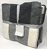 Roca Home Heathered Cotton Flannel Queen or King Bed Blanket Bedspread Glen Tartan Plaid Checkered Design (Dark Grey, King)