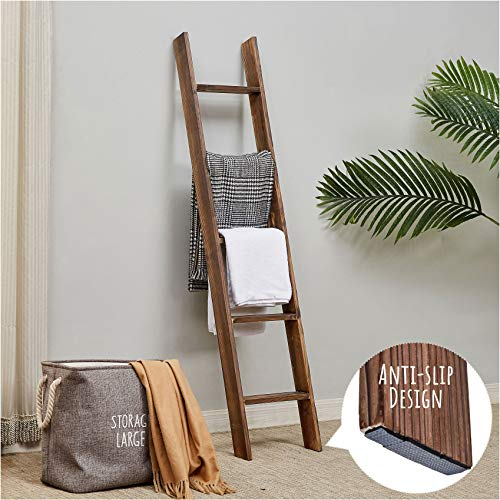 RHF Rustic Farmhouse Blanket Ladders,Wall Leaning Decorative Blanket Ladder,Rustic Wood 5ft Blanket Ladders, Blanket Quilt Rack Stand for Living Room, Ladder Decor,No Assembly Required 5-Feet, Brown