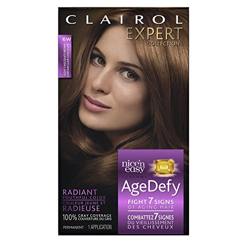 Price comparison product image Clairol Age Defy Expert Collection, 6W Light Chocolate Brown, Permanent Hair Color, 1 Kit (PACKAGING MAY VARY)