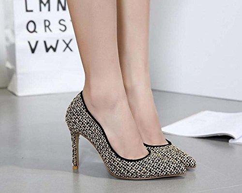 zapatos dedo otoño 40 zapatos color Gold de 10cm Scarpin casuales Size Ol Mujeres tacón alto de Match 35 Tamaño puntiagudas Stiletto nuevos Pump 35 2017 Color de Lace zapatos vestir Eu 70FwHwq