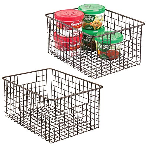 mDesign Farmhouse Decor Metal Wire Food Storage Organizer Bin Basket with Handles - for Kitchen Cabinets, Pantry, Bathroom, Laundry Room, Closets, Garage - 2 Pack, 12