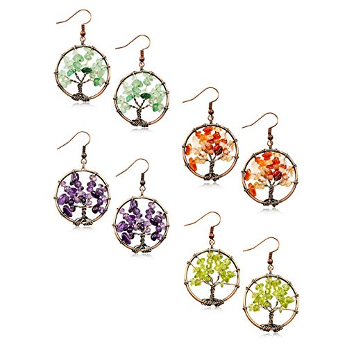 - MOWOM 4 Pairs Multicolor Copper Dangle Hook Earrings Simulated Stone Tree Of Life Chakra