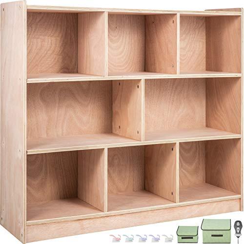 Happybuy Classroom Storage Cabinet Plywood 8-Section Preschool Storage Shelves 36