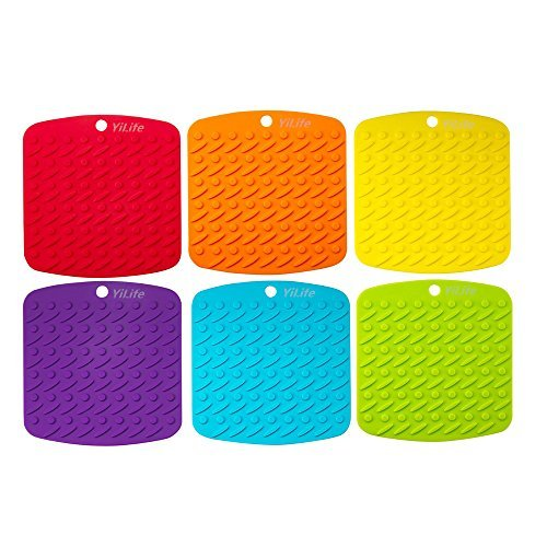 Premium Silicone Pot Holder,Trivets,Hot Mitts,Spoon Rest And Garlic Peeler Non Slip,Heat Resistant Hot Pads,Multipurpose Kitchen Tool. 7x7'' Potholders(Set of 6) Non Slip,Dishwasher Safe,Durable.
