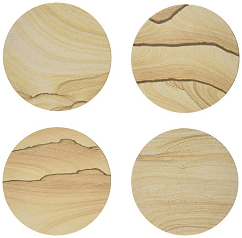 Thirstystone Drink Coasters, Tan (Stone Coasters)