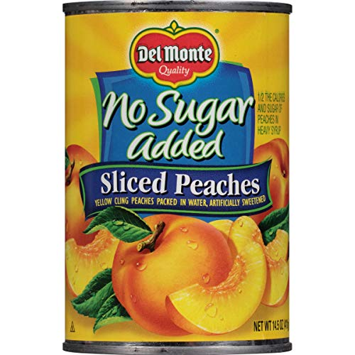 - Del Monte Canned Yellow Cling Sliced Peaches, No Sugar Added, 14.5-Ounce (Pack of 12)