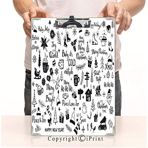 Print Clipboards Office Document,Clipboards Low Profile Clip,Writing board,Paper Clip,collection of christmas new years decoration items silhouettes and outlined doodles xmas trees santa hats gift box ()