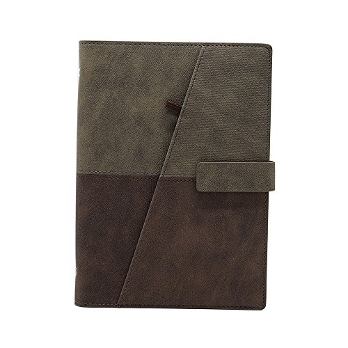 (WCR Refillable Notebook, Loose-Leaf Writing Journal Spiral Bound Diary, Executive Personal Organiser with Card Pockets, Pen Loop, Magnetic Clip, Ruled Paper 160Pages (Taupe and Brown, A5))