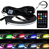 4 pcs Mihaz High Intensity Led Glow Underglow Light Kit, Running RGB Colors Light Strip Under Car Underbody System Underglow Light Sound Actived Wireless Remote Control Atmosphere Lights (60-90cm)
