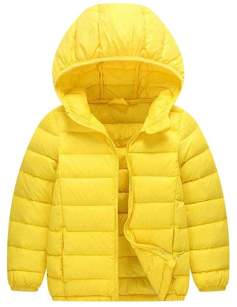 Mocilation Boy Solid Hoodid Lightweight Down Packable Portable Jacket Parka Coat