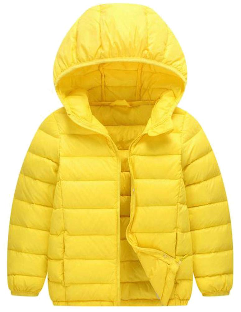 Wofupowga Boy's Solid Hooded Packable Lightweight Down Zipper Jacket Parka Coat Yellow 12T by Wofupowga