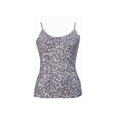 WELVT Women's Glitter Flashy Sequins Tank Party Club Wear Sleeveless Top Silver