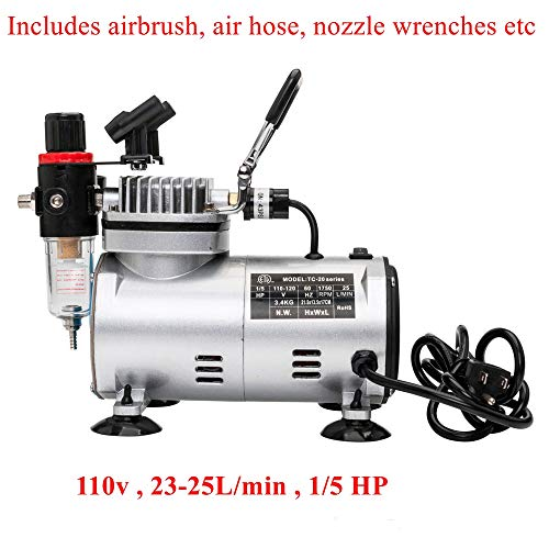 Fashine Adjustable 110V Electric Air Compressor, High Pressure Air Compressor Pump with 3 Air Brush Kits(US STOCK)