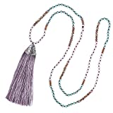 KELITCH Long Tassel Necklace Handmade Pendant Long Layered Statement Necklace for Summer Party, Light Purple