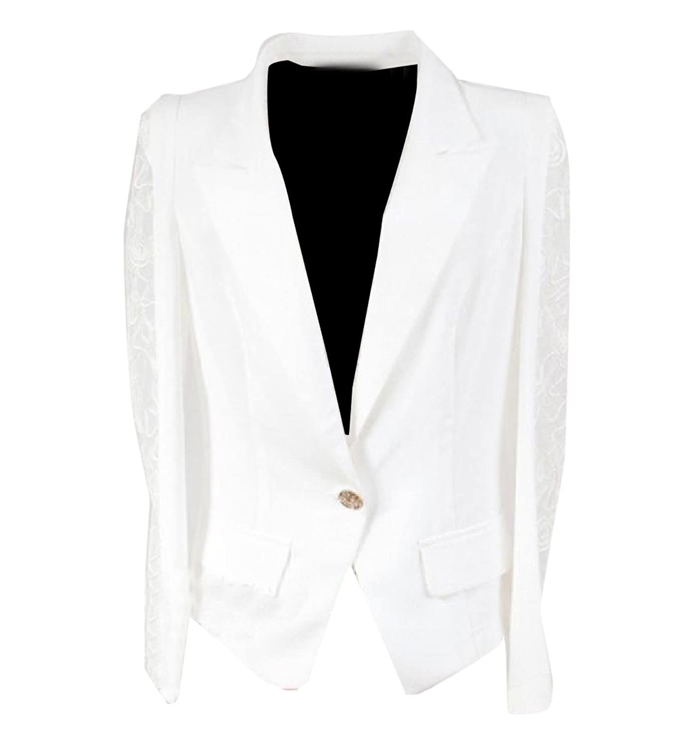 Abetteric Womens Custom Fit Lace Patched One Button Thin Blazer Jacket