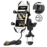 MOTOPOWER MP0609D Bike Motorcycle Cell Phone Mount Holder With USB Charger- For any