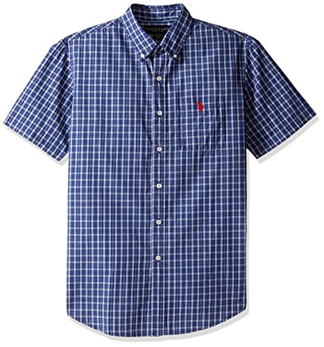 Pocket Plaid Sport Shirt (U.S. Polo Assn. Men's Classic Fit Single Pocket Stripe, Plaid Or Print Sport Shirt, 9716-Classic Navy, M)