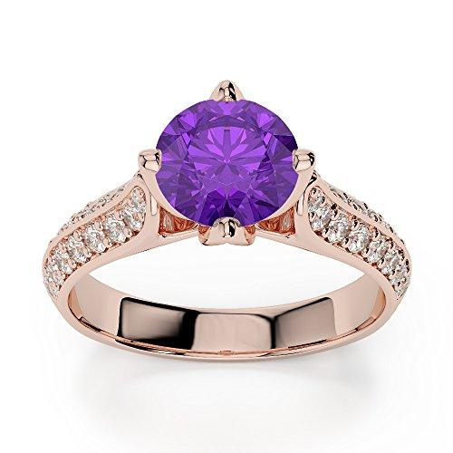 Or Rose 18carats 1CT G-H/VS sertie de diamants ronds Cut Améthyste et bague de fiançailles Agdr-1205