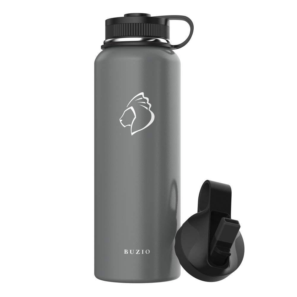 1000 ml Flasche mit BPA-freie Flex Cap und Stroh Deckel f/ür Outdoor-Sport Wandern Camping BUZIO Double Wall isolierte Edelstahl Wasserflasche