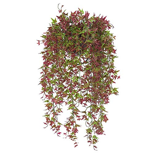 Artificial Hanging Vine, Sweet Potato Leaves Plastic Plants Greenery Faux Ivy Garland Fake Plant UV Resistant for Indoor Outdoor Garden Door Wall Baskets Wedding Party Table Decoration Red 2 Pcs