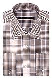 "Sean John Men's Regular Fit Large Plaid Spread Collar Dress Shirt, Toasted Sesame, 18"" Neck 34""-35"" Sleeve"