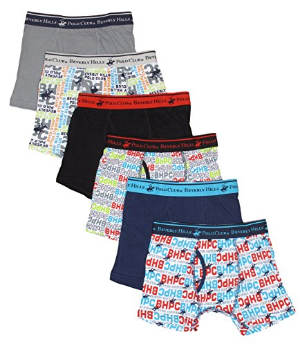 'Beverly Hills Polo Club Boys\' Boxer Briefs (Pack of 6), Assorted Prints, Large / ()