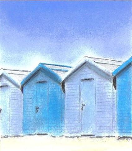 Azul de casetas de playa tizas pastel dibujo