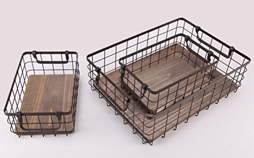 Metal Wire Storage Baskets with Natural Wood Base, Set of 3 Nesting Organizers with Handles