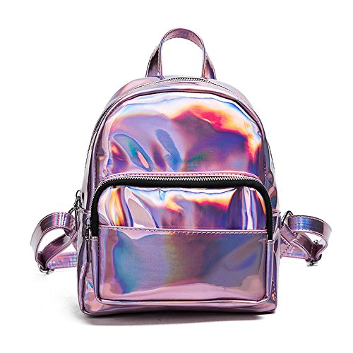 I IHAYNER Holographic Laser Leather Backpack for Girls Pink Silver Mini Backpack for Women, 20cm9cm23cm