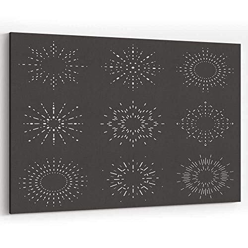 Radiant Sunburst Lineart Design Icons Set Template Vector jeffcyb Canvas Art Wall
