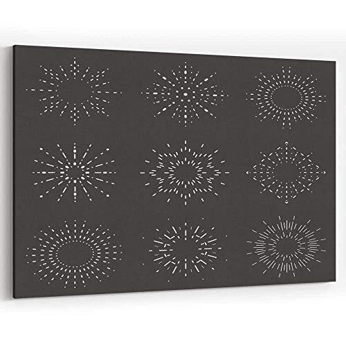 - Radiant Sunburst Lineart Design Icons Set Template Vector jeffcyb Canvas Art Wall