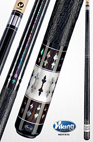 Viking A831 Pool Cue Stick 40 Genuine Abalone & White Premium Pearl Inlays & Rings Gator Embossed Leather Wrap Quick Release Joint ViKORE Shaft 18 - 21 oz. (20) ()