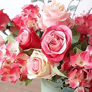 simoce 6 Heads Australian Rose Hydrangea Bouquet Silk Bouquet Home Party Wedding Décor Artificial Flower Props Fake Flowers (Red-Orangepink) 3