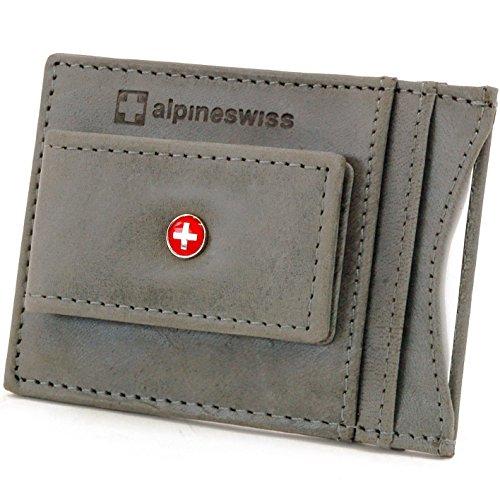 (Alpine Swiss Men's Wallet Leather Money Clip Thin Slim Front Pocket Wallet, Gray)