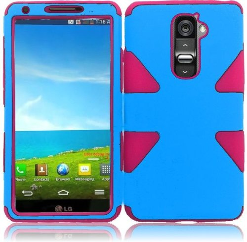 T-mobile G2 Two Piece - LG G2 VS980 D800 ( AT&T , T-Mobile , Sprint , Verizon ) Phone Case Accessory Blue Pink Dual Protection D-Dynamic Tuff Extra Stong Cover with Free Gift Aplus Pouch