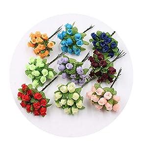 DraFenn 12Pcs 2Cm Handmade Mini Silk Rose Bouquet Artificial Flower Wedding DIY Wreath Clip Art Fake Flower 53