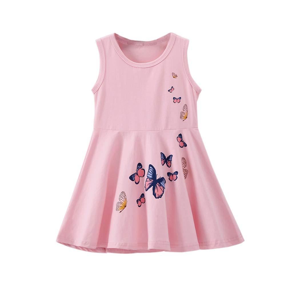 BOBORA Robe de Princesse D/écontract/ée sans Manches en Coton avec Papillons pour B/éb/é Filles 2-7 Ans