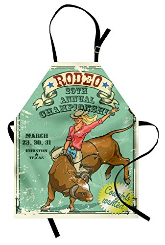 Lunarable Retro Apron, Rodeo Cowgirl on The Bull Annual Championship Vintage Poster Pattern Grunge Design, Unisex Kitchen Bib Apron with Adjustable Neck for Cooking Baking Gardening, Seafoam -